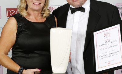 Mary and Liam McKenna of the Manor House Country Hotel accept Northern Ireland's 'Best Wedding Venue' award last Saturday