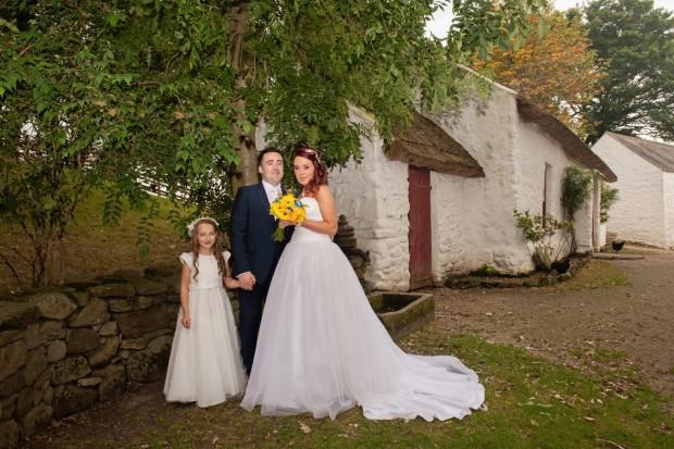 Daniel McGinn, son of Geraldine and Laurence McGinn weds Paulina Dlogosz, daughter of Beata Dlogosz. Also pictured is flower girl Julia McGinn.