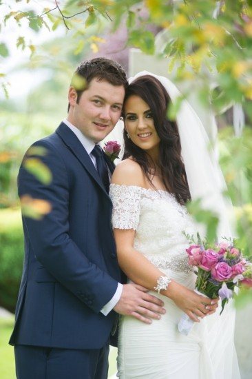 Newlyweds Susanne and Thomas are all smiles as they enjoy the scenery at their wedding reception in the Silver Tassie Hotel and Spa in Letterkenny.
