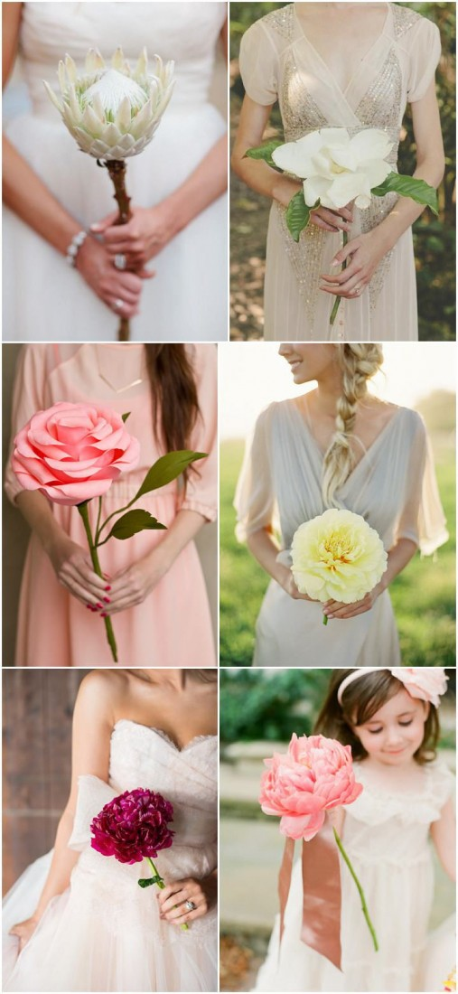 Image : Single Stem Bouquets - boho-weddings.com