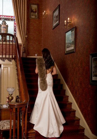 Corick House Hotel - Bride on stairs.3