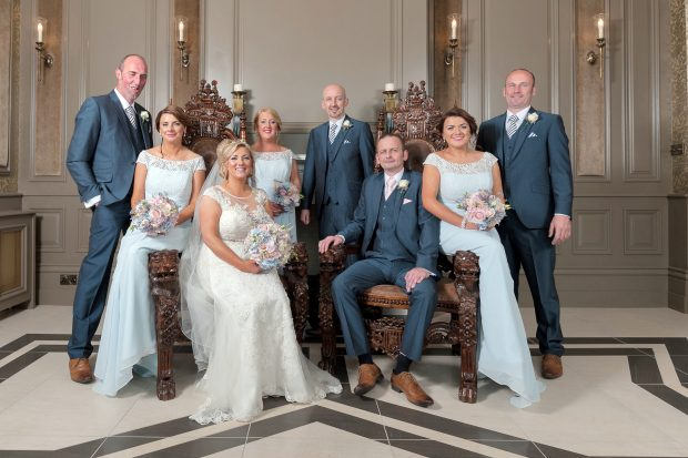 Newlyweds Rachel and Adrian Sweeney, alongside maid of honour Bronagh Akay and bridesmaids Madeleine Walsh and Mairead McGlinchey. Also pictured is best man Kieran Sweeney and groomsmen Dermot Sweeney and Brendan Carolan.