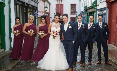 The newlyweds, Sabrina and Christopher McKenna, alongside maid of honour, Gráinne Nugent and bridesmaids, Leona Barrett and Kellie Barrett. Also pictured is best man, Ryan McKenna, and groomsmen, Fergal McKenna and Barry McKenna.