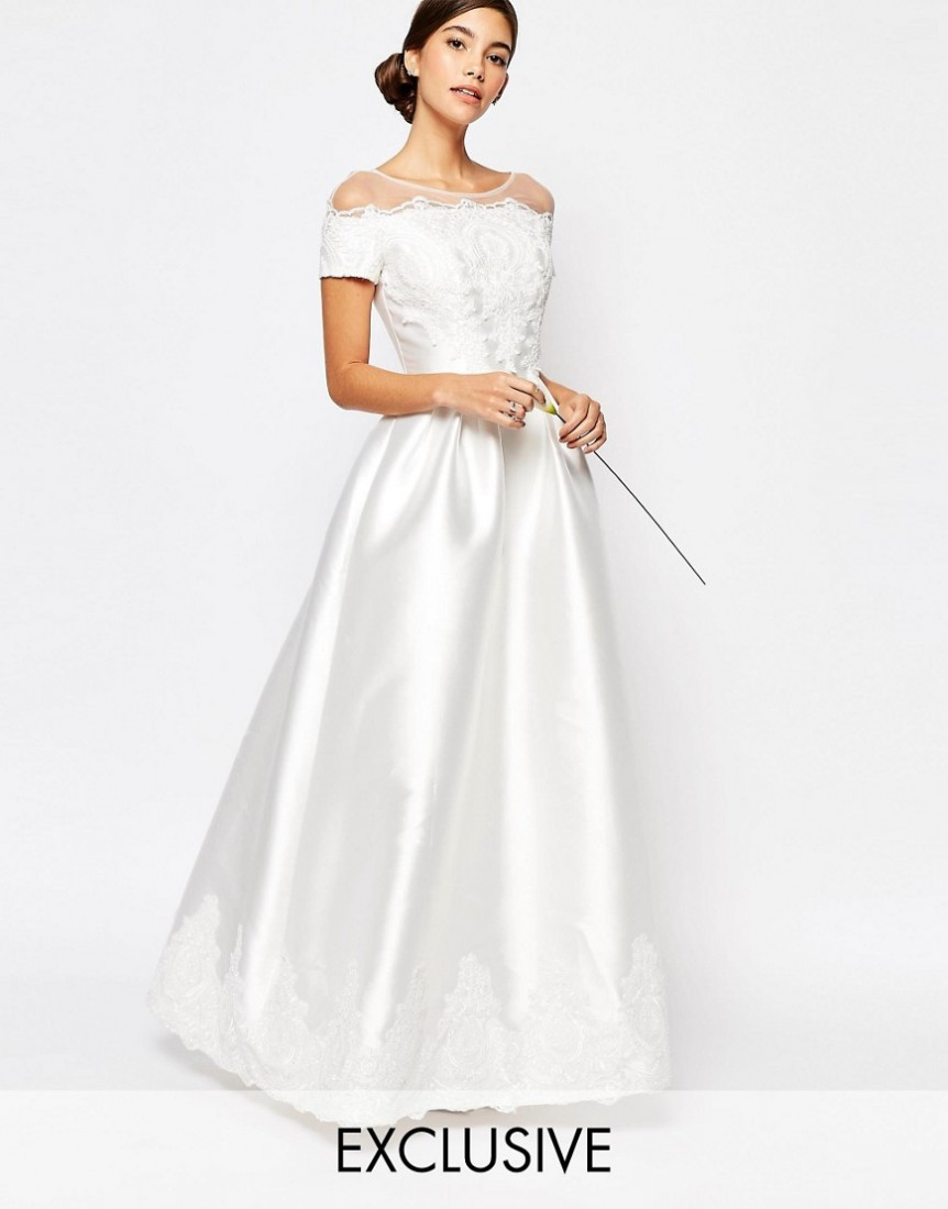 ASOS Bridal Chi London Maxi Dress With Embroidery And Cap Sleeve