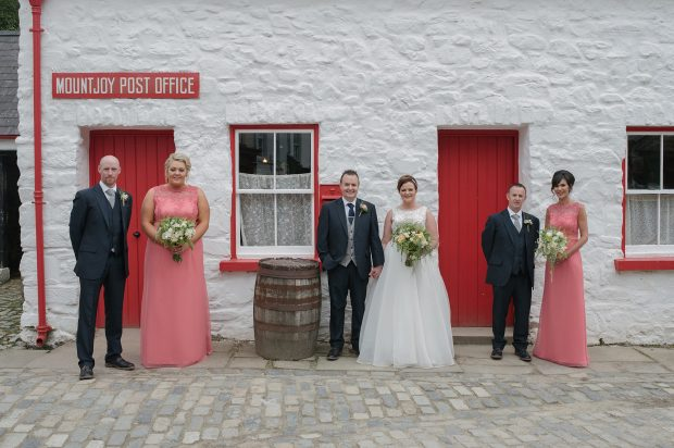 Newlyweds Warren and Sarah, with maid of honour, Lynne Gibson, and bridesmaid, Judy Giboney. Also pictured is best man, James Harkness and groomsman, Gareth Hamilton.