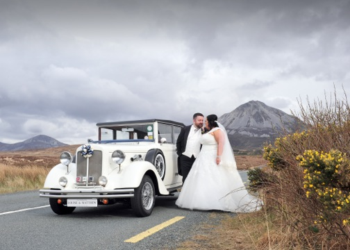 Mount Errigal provided a stunning backdrop for Louise and Matthew Beaumont as they kissed as husband and wife