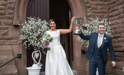 Orla and Noel O'Kane are all smiles as they leave the Sacred Heart Church, Plumbridge as husband and wife.