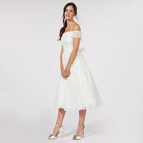 Deb.Debut Ivory 'Eternity' lace Bardot bridal dress