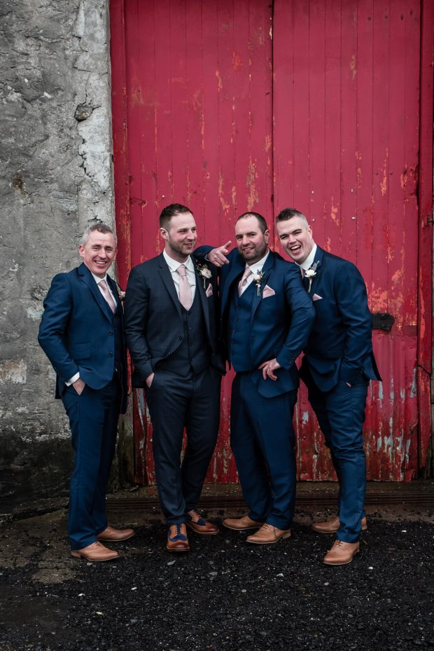 Groom Adam Cummings is enjoying his wedding day, alongside best man, Richard Cummings, and groomsmen, Mark Hetherington and Paul Phillips.