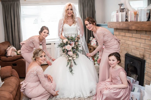 Michelle Cummings (née Phillips) gets ready for her big day, with the help of her trusty maid of honour, Ciara Houston, bridesmaids, Alison Coyle and Rachel Buchanan and junior and Las Vegas for two weeks. bridesmaid, Addison Phillips-Cummings.