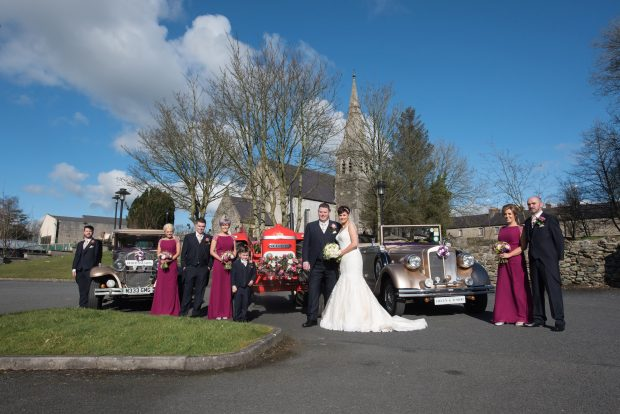 Newlyweds, Helen and Junior alongside their maid of honour, Amanda McDermott and best man, Jason Gilchrist. Also pictured are bridesmaids, Genevieve Simmons and Joanne Gilchrist, groomsmen, Maurice Kelly and Tom Kelly and page boy, Rain Kelly.