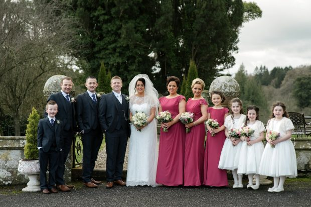 Paul and Una with their bridal party, Ben Kirwan, Tommy Connors, Eric Kirwan, Mairead Hurson, Sharon Farley, Ella Hetherington, Katie Hetherington, Lily Mae Hurson and Annie Farley.